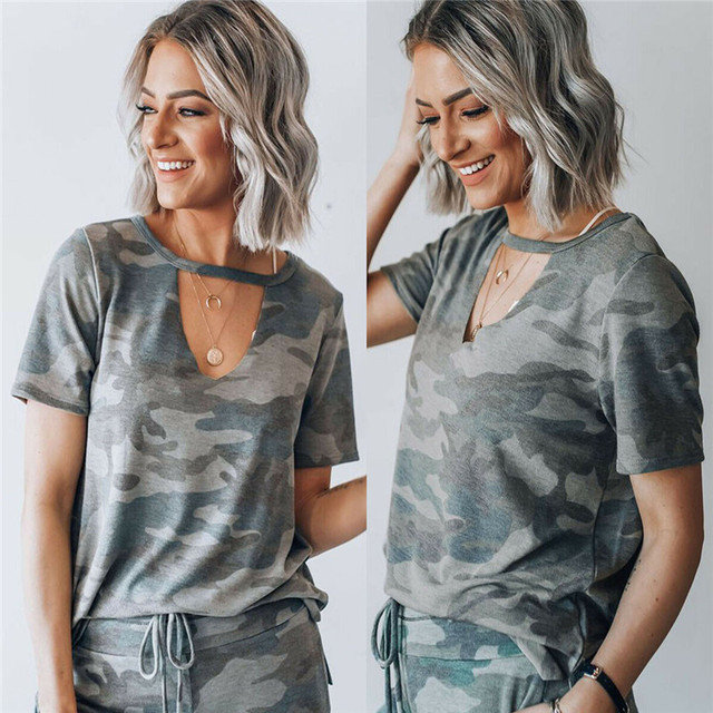Hot Military Women T Shirt Ladies Girl Camo Camouflage Summer Cool Sweatshirt Short Sleeve Tops