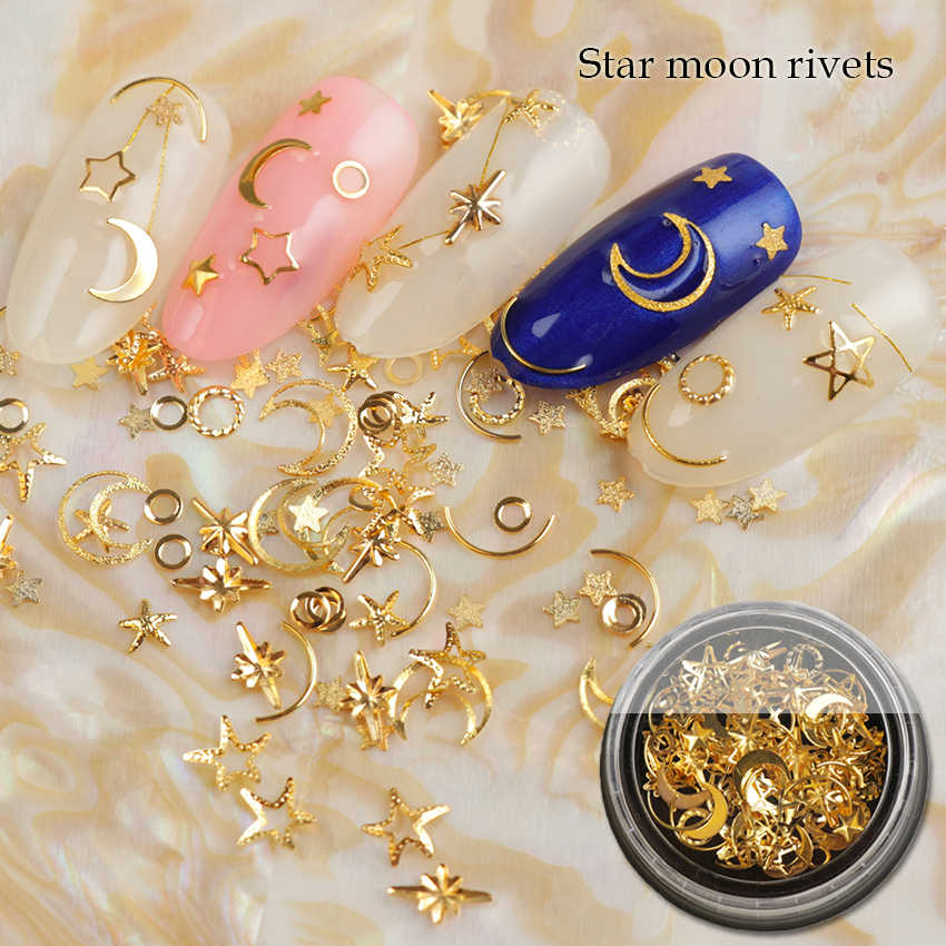 1Box Mixed AB Crystal Rhinestones Hollow Metal Studs 3d Gold Silver Moon Star Rivets Glitter Decoration DIY Nail Art Accessories