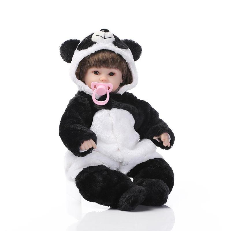Soft Silicone Simulation Panda Reborn Baby Doll Plush Stuffed Toys With Panda Coat Kids Sleeping Accompany Dolls Toy largest size 95cm panda plush toy cute expression panda doll birthday gift w9698
