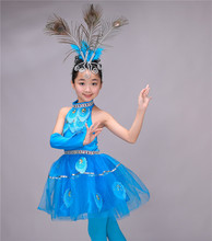 Girls National Dance New Children Dai Costumes Peacock Chinese Performance