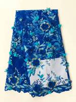 2017 Latest African Tulle Lace fabric high quality african lace fabric with stones lace material for blue women AL