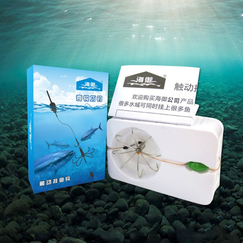 Excellent 8 In 1 Hook With Environmental Plumb Bob Automatic Fishing Hook Portable Full Speed Fish Accessories-in Fishhooks from Sports & Entertainment