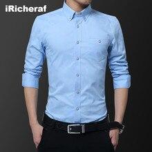 iRicheraf 2019 Shirt Men Plus Size 5XL Man Full Sleeve Turn-down Collar With Pocket Geometric Printing Casual Shirts Black White