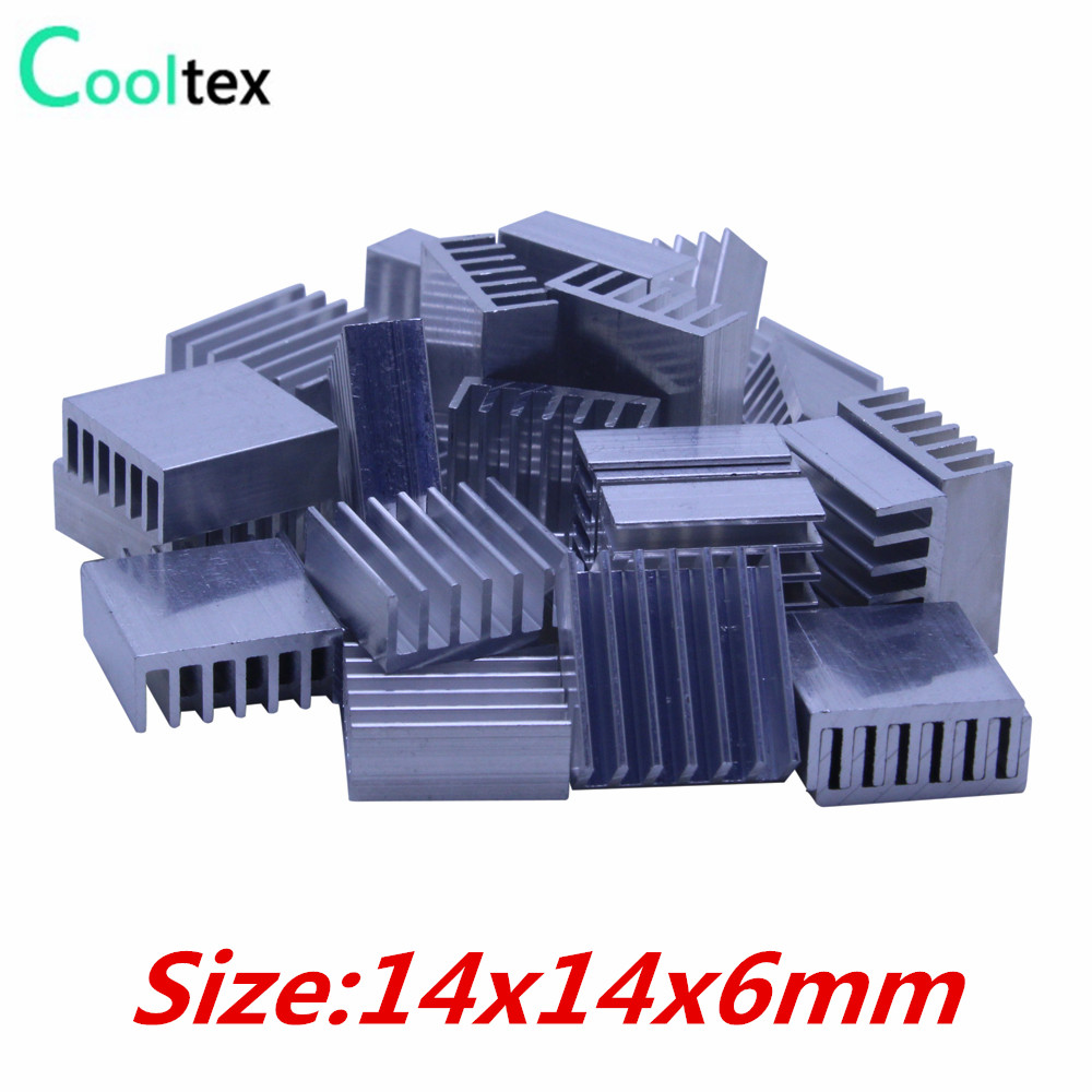 50pcs  Extruded Aluminum heatsink 14x14x6mm , Chip CPU  GPU VGA  RAM LED  IC radiator, COOLER 5pcs lot pure copper broken groove memory mos radiator fin raspberry pi chip notebook radiator 14 14 4 0mm copper heatsink