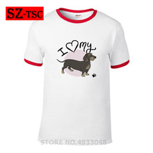 2019 Hot Sale I Love My Wire Haired Dachshund Printed T Shirt Summer Men Funny Animal Cool Novelty Short Sleeve Tee Tops Clothes