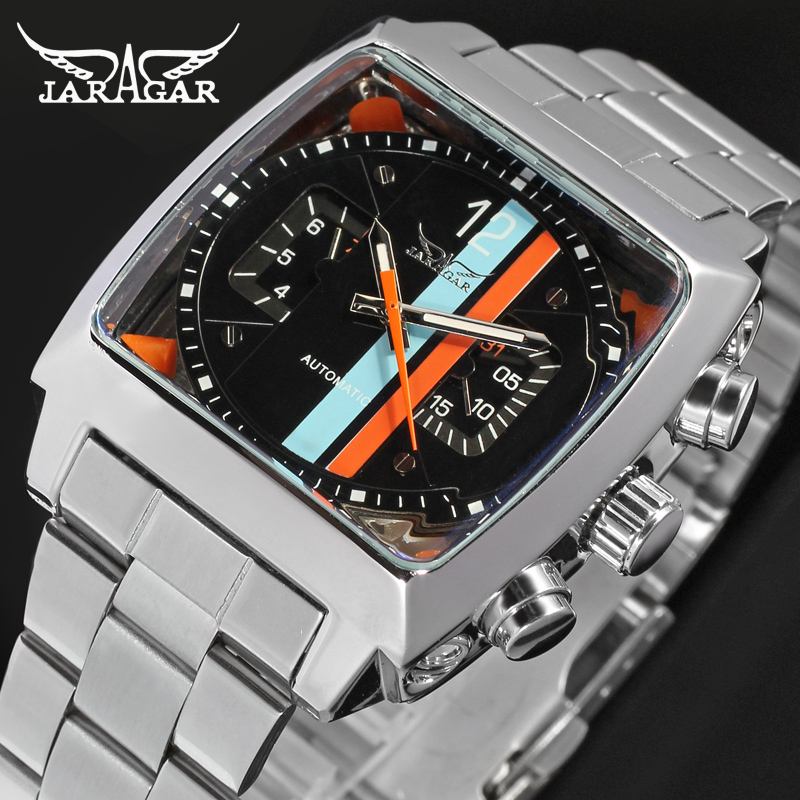 Jargar Automatic fashion dress watch silver color with stainless steel band for men hot selling free shipping jargar jag6902m3s2 automatic dress wristwatch silver color with black leather steel band for men hot selling free shipping