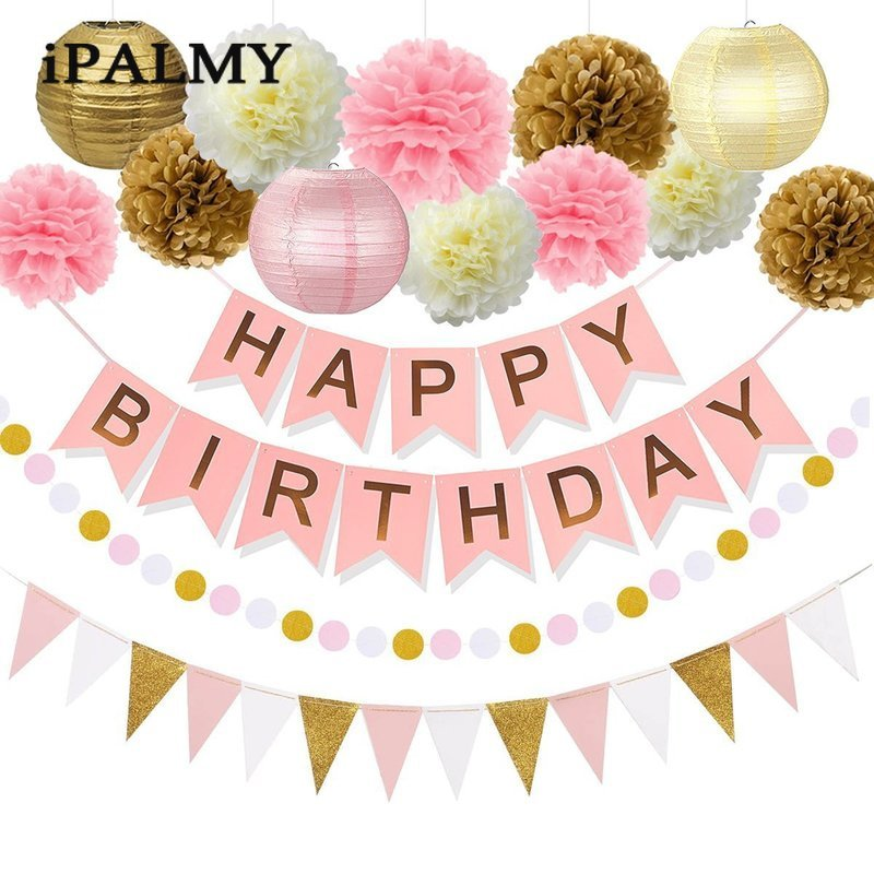 Birthday Party Decoration Set Pink Gold Paper Lantern Pom Poms Garland Happy Birthday Bunting Banner Decorations Set