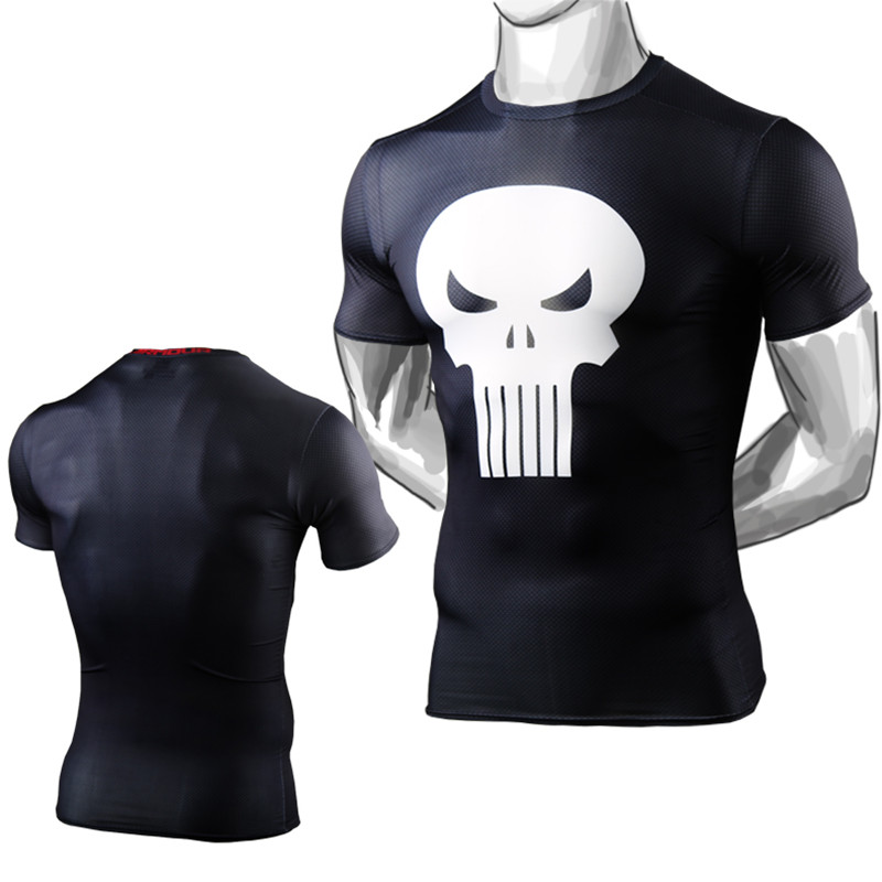 2016 the avengers superman punisher compression shirt men marvel fitness tights short sleeve t. Black Bedroom Furniture Sets. Home Design Ideas