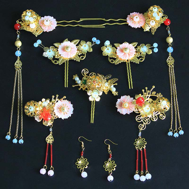ACRDDK Earrings Bridal-Jewelry-Sets Wedding-Accessories Gold Tassel Long Hairpins Tiaras