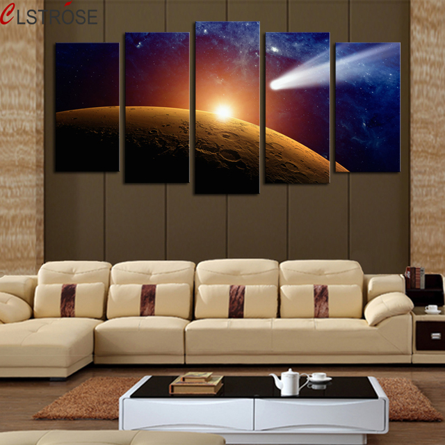 CLSTROSE Hot Sale 5 Panels Space Planet Modern Canvas Painting By Number Contemporary Art On Wall