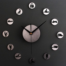 Creative DIY 3D Lovers Sex Positions Wall Clock Bedroom Decoration Wall Sticker Clocks relogio de parede for Friends Great Gift