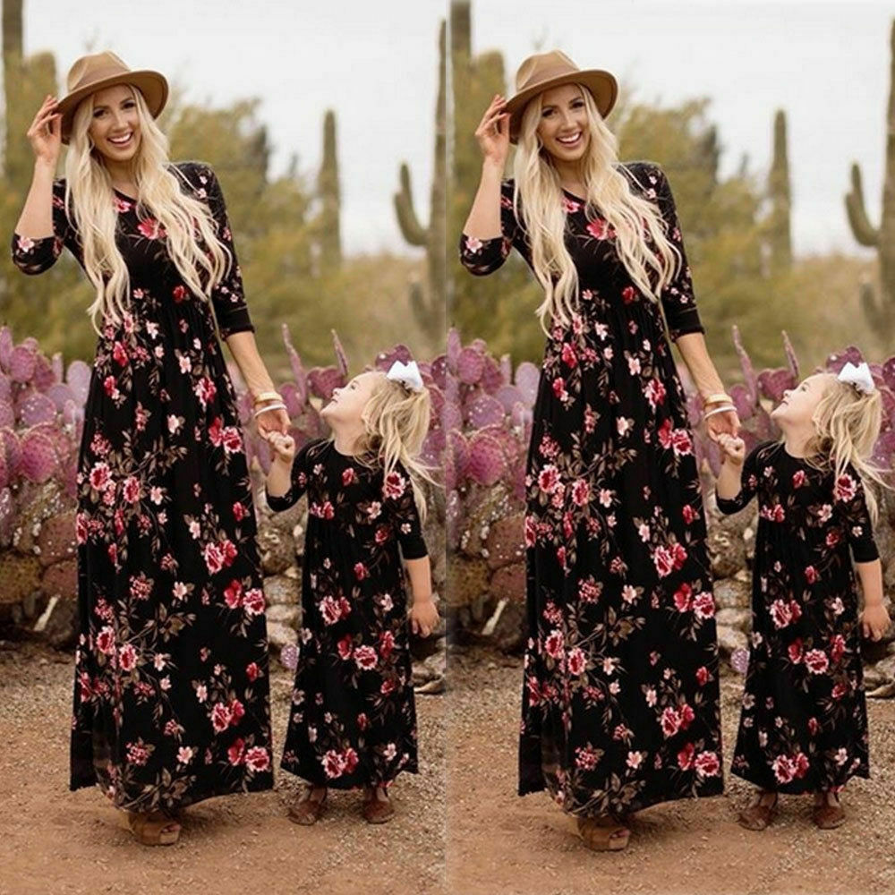 IMCUTE Summer New Floral Family Matching Outfits Clothes Mom and Daughter Dress