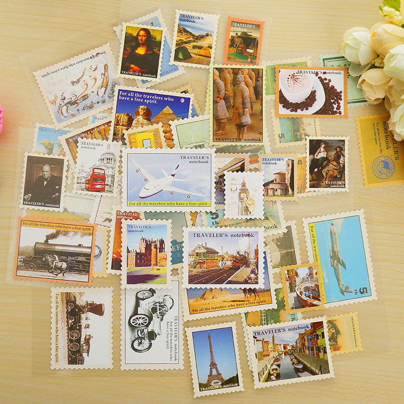 4 Sheets/lot Vintage Travel Postage Stamp Decoration Paper Sticker DIY Diary Decoration Sticker For Planner Album Scrapbooking