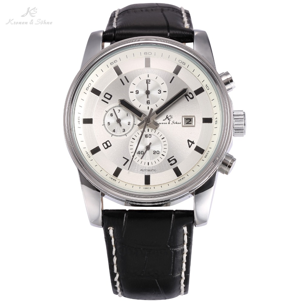 KS Navigator 6 Hands Auto Date Day Month Male Black Leather Band White Dial Wristwatch Men