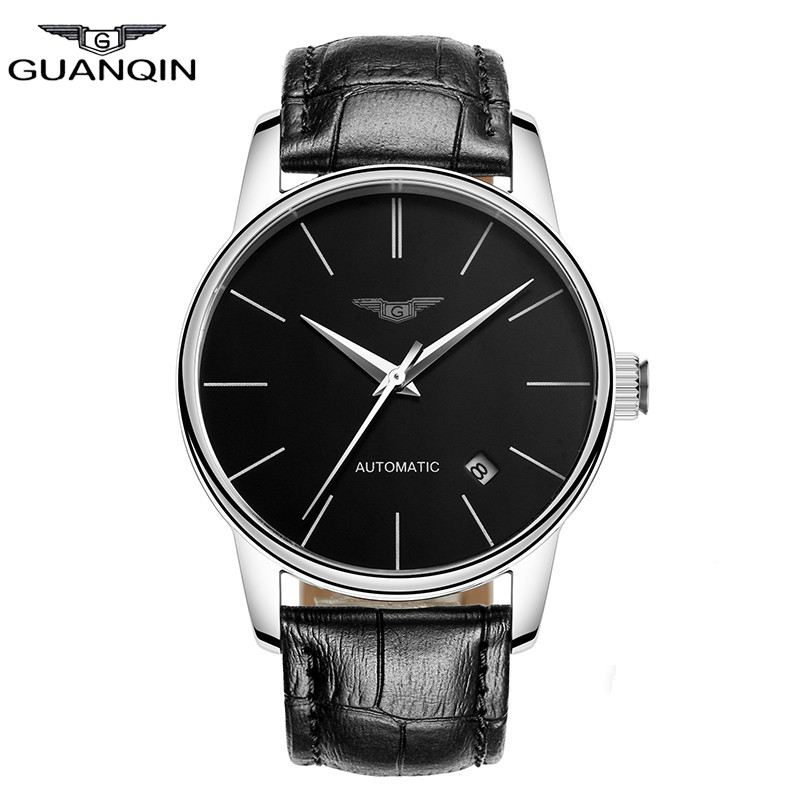 GUANQIN Watch Full Watch Waterproof  Watch Men Really Leather Ultra-thin Fashion Clock relogio masculino ultra thin watch male student korean version of the simple fashion trend fashion watch waterproof leather watch men s watch quar