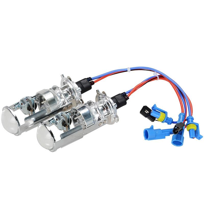Pair 55W HID Len H4 LHD RHD HID Bulb Hi/Lo Beam Light Car Headlight 1.5'' Mini Projector Len 4300K 6000K Styling Automobile