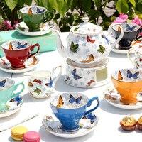 Творческий Бабочка Керамика костяного фарфора Чай кастрюлю с теплой плита печи цветок Чёрный чай Чай горшок Кофе чашка и блюдце набор Drinkware