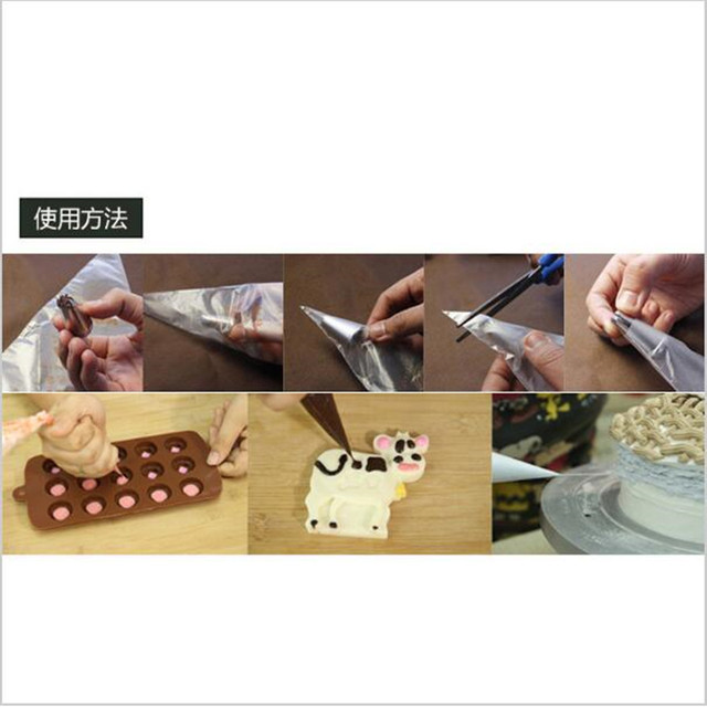 100PCS/Lot Food Grade Plastic Pastry Bags Disposable Piping bag Icing Nozzle Fondant Cake Decorating Pastry Tips Tools