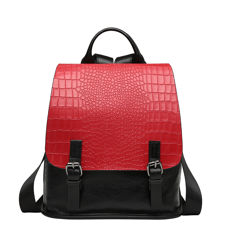2017 vintage panelled alligator pattern 100 Genuine leather women bagpack small backpack for teenage girls school