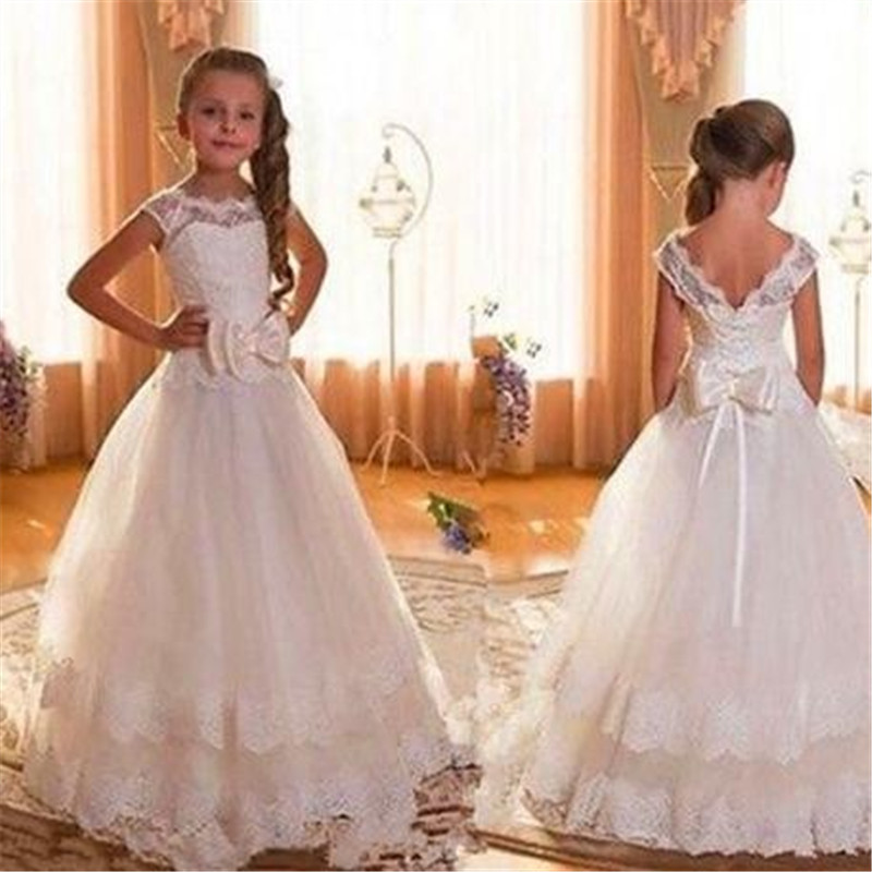White Ivory   Flower     Girl   Lace   Dresses   Little   Girls   Kids Children Bridesmaid Wedding Party Pageant First Communion   Dress