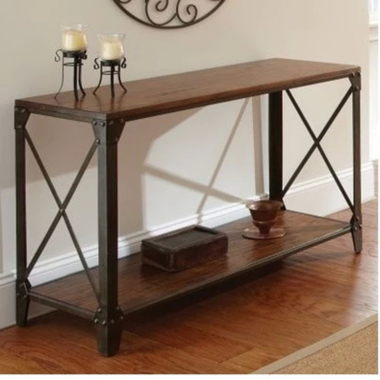 American country wrought iron wood console table desk side