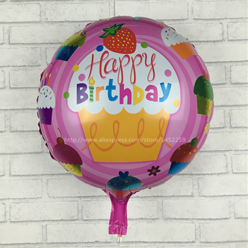 XXPWJ free shipping new 18 inch round aluminum balloons Happy Birthday balloons decorated children's toys wholesale party