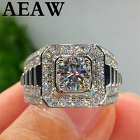 Solid 18K 750Au 1ct White Gold Moissanite Diamond Man Ring D color VVS With National Certificate