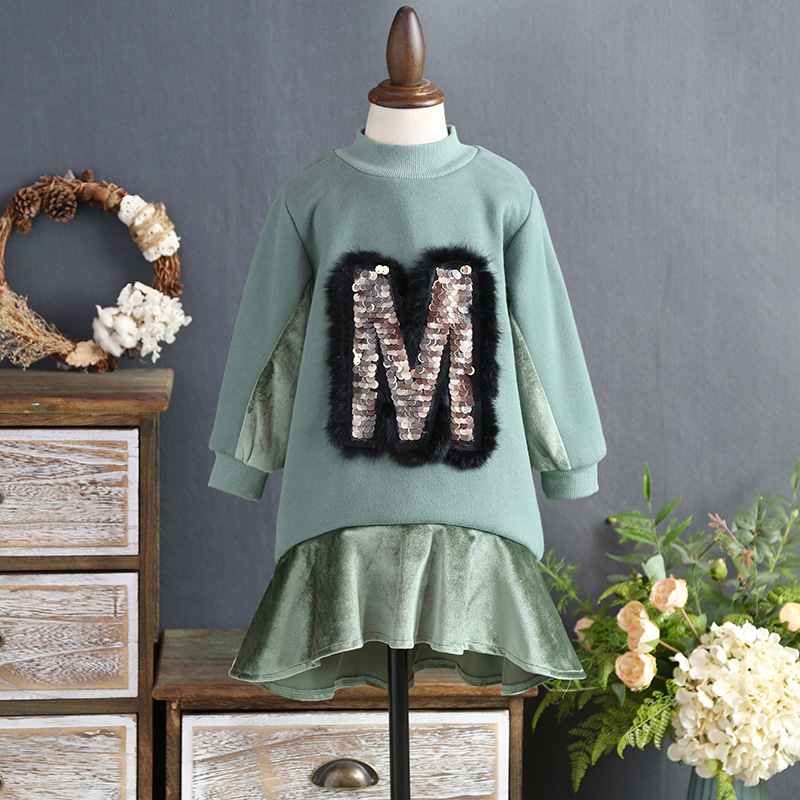 Girl sweater winter section 2017 new  of the winter sequin rabbit hair long section of the sweater fashion thick  dress anne klein new jade long sleeve sequin sweater s $79 dbfl