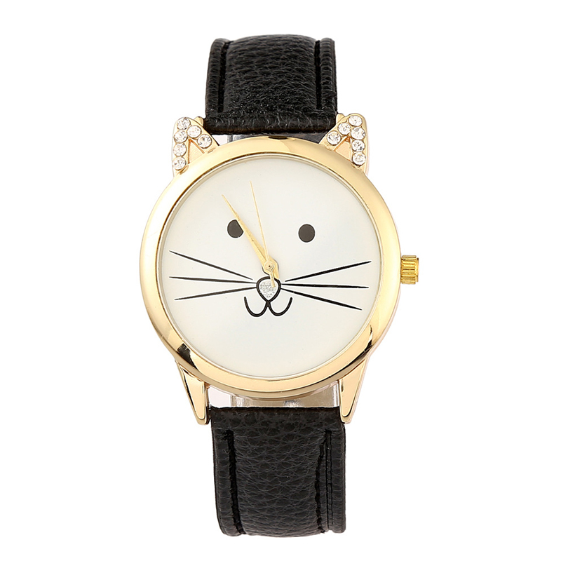 Women's Watches Quartz Wristwatches Lovely Cat Women Watch Rhinestone Wristwatch PU Leather Band Student Wrist Watch Girl Clock fashion brand hello kitty quartz watch children girl women leather crystal wrist watch kids wristwatch cut lovely clock e3570
