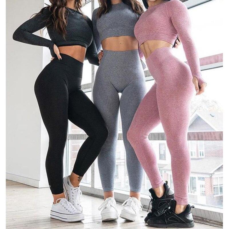 YCDKK de cintura alta sin costura Leggings empujar Control Yoga polainas deporte mujeres Fitness corriendo pantalones de Yoga de la energía sin costura Leggings