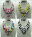 New Crystal Flower chunky choker statement necklace fashion pendants Luxury bib Necklace shourouk Factory Free Shipping
