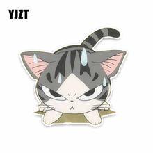 YJZT 13.7*13 CM Furioso Gato PVC Decoração Etiqueta Do Carro Decalques Gráficos C1-4149