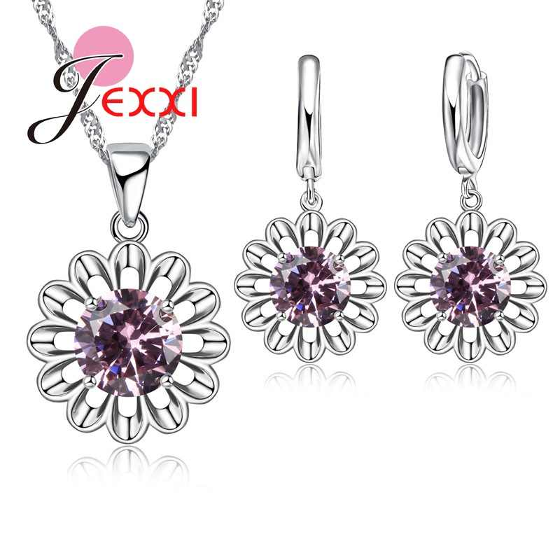 Beautiful Sunflower Romantic 925 Sterling Silver Jewelry Sets For Women Bridal Wedding Earrings/Chain/Necklace/Pendant Set