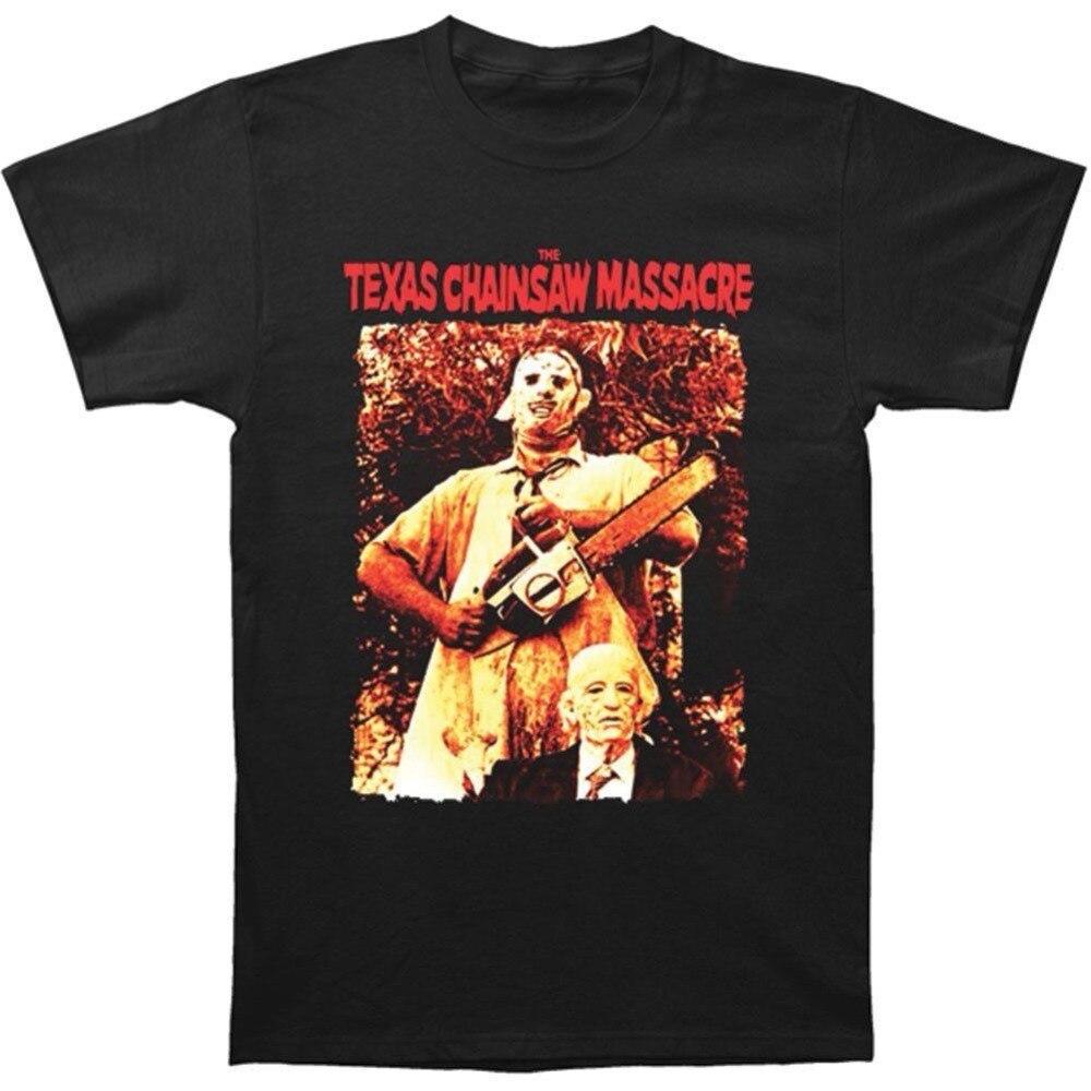 T Shirt Shop Fashion Mens Texas Chainsaw Massacre Leatherface & Grandpa T-shirt Black Short Men Crew Neck Fashion 2018 Tee
