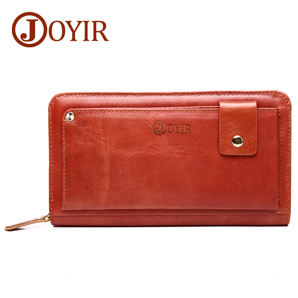 JOYIR Genuine Leather Men Wallets Clutch Male Long Money Card Holder Handbag Vintage Zipper Coin Purse Wallet Carteira Hombre banlosen brand men wallets double zipper vintage genuine leather clutch wallets male purses large capacity men s wallet
