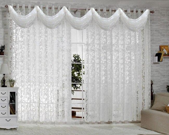 Blanc rideaux pour salon moderne sheer cuisine cortina de luxe blanc ...
