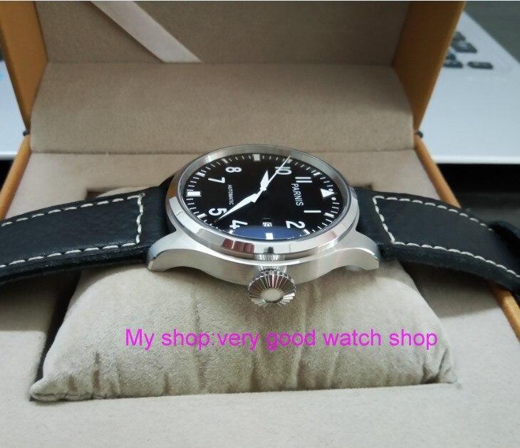47mm big pilot PARNIS Black dial Automatic Self-Wind movement Auto Date men watches luminous Mechanical watches df129A