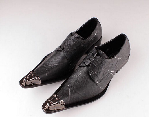 Fashion Trend Men Genuine Leather Business Shoes Fashoin Metal Pointed Toe British Style Shoes Men Soft Oxford Shoes Male Size46