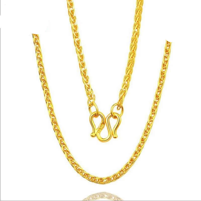 yellow gold wheat chain necklace best 999 gold 24k
