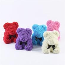 VIP-Цена Прямая доставка 25/40 см PE красный медведь цветок розы Искусственные Рождественские подарки для Для женщин подарок ко Дню Святого Валентина с презентабельным видом: плюшевый медведь