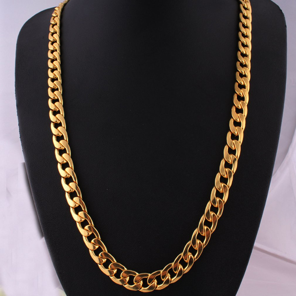Punk Hip Link Golden Chain Rapper Men Necklaces Street Fashion Popular Metal Alloy Long Chain Decorative Jewelry Present(China)