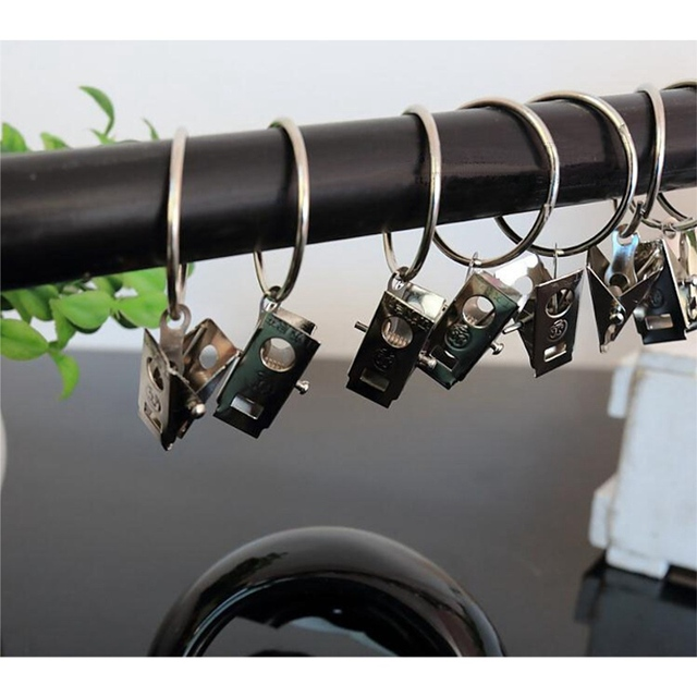 10PCS Unmovable Stainless Steel Curtain Rod Clips Window Shower Rings Hanging Clamp Ring Drapery