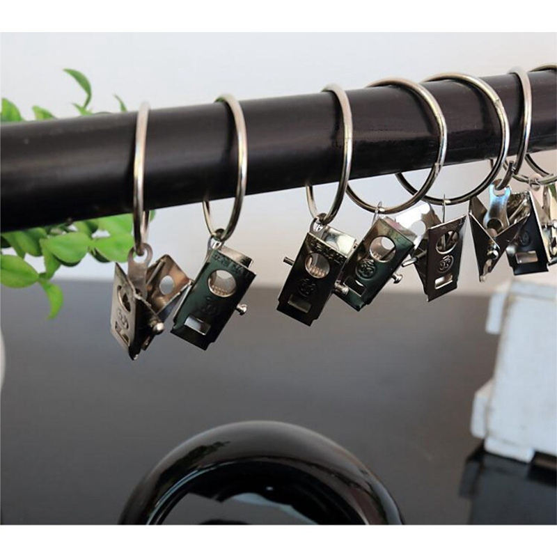 10PCS Unmovable Stainless Steel Curtain Rod Clips Window Shower Curtain Rings Hanging Clamp Ring Drapery Clips
