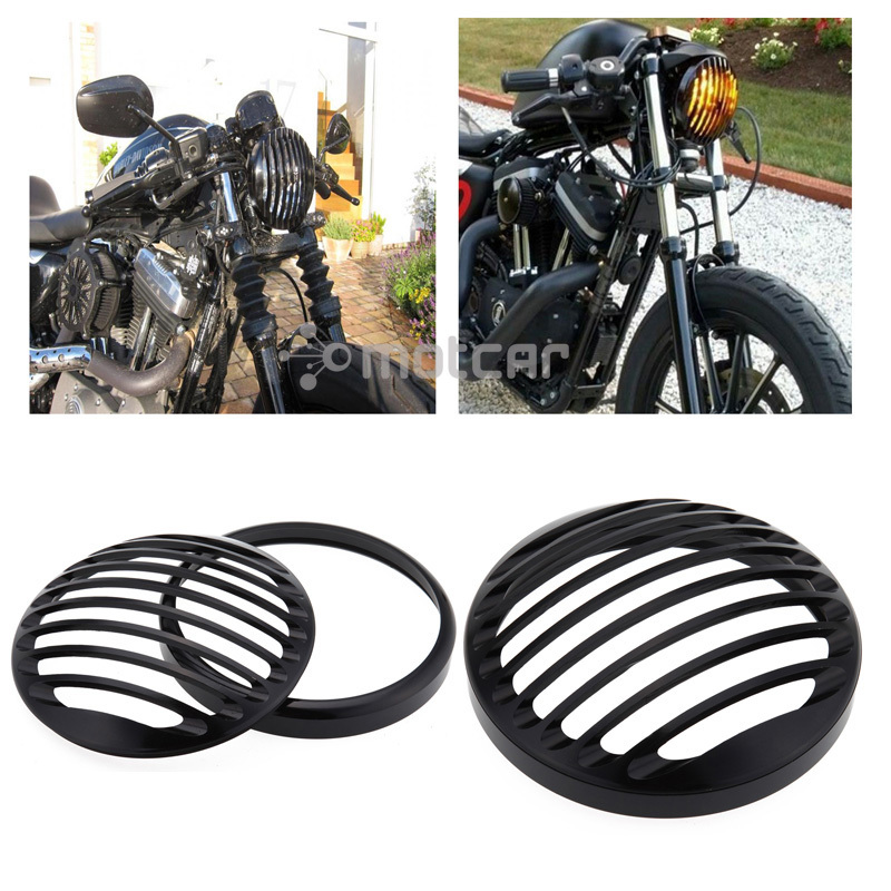 CNC Aluminum Black Headlight Protection And Decoration Grill Cover Fit For 2004-2012 Harley Sportster XL 883 1200 super quality 5 3 4 aluminum cnc light cover headlight grill cover for harley sportster xl883 1200 04 up softail