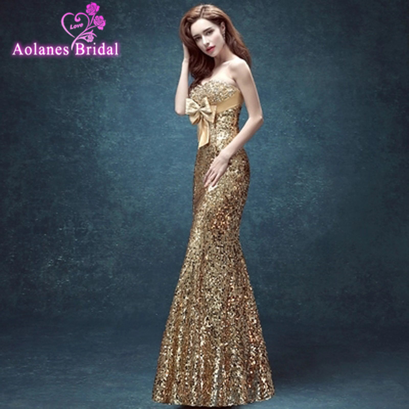 AOLANES Cheap Evening Dress 2017 Crystals Sequins Off The Shoulder Backless Vestidos De Noche Largos Sparkly Free Shipping