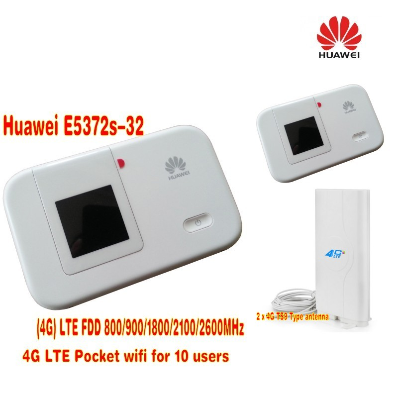 HUAWEI E5372s-32 4G 150Mbps LTE Cat 4 Pocket Mobile WiFi Wireless Hotspot Modem+49DBI 4G Antenna new huawei e398 4g lte speed surf stick modem dongle 100mbps e398u 1 4g 49dbi ts9 antenna