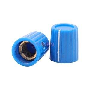 "Image 4 - 6.4mm Plastic Set Point Knob for Vintage Marconi Instrument Guitar AMP Effect Pedal mixer 1/4"" Brass Insert Black Gray Red Blue"