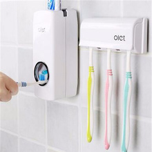 1 Set Tooth Brush Holder Automatic Toothpaste Dispenser + 5 Toothbrush Holder Toothbrush Wall Mount Stand Bathroom Tools