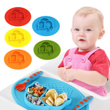 New Baby Dishes Cute Cartoon Shape Plate Safe Food Grade Tableware Silicone One-piece Plate For Babies Toddlers And Kids