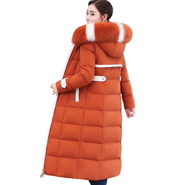 New Winter down jacket women Lengthen parka Fox big fur collar Hooded coat female Plus size Thicken high quality down coats 2199